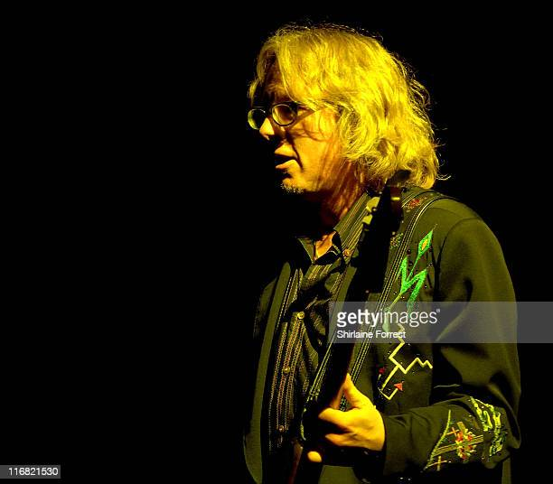 Mike Mills of REM performs at Old Trafford on August 24 2008 in Manchester England