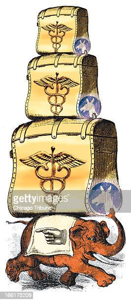 Mike Miner color illustration of a Republican elephant carrying on his back trunks with the Democrat donkey symbol and a caduceus on them
