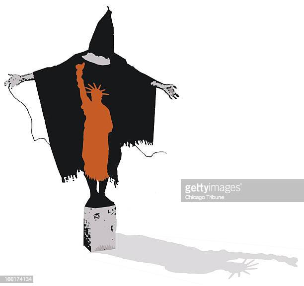 Mike Miner color illustration of a torture victim with the Statue of Liberty superimposed over it and casting a shadow of Lady Liberty