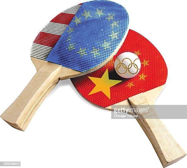 Mike Miner color illustration of American and Chinese pingpong paddles and Olympic pingpong ball