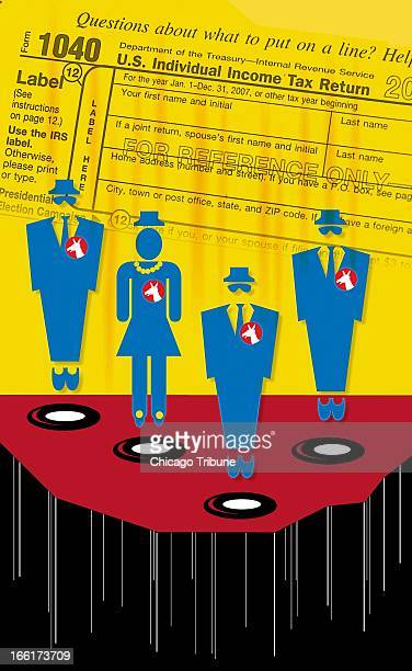 Mike Miner color illustration of anonymous Democrats disappearing in front of a 1040 tax form