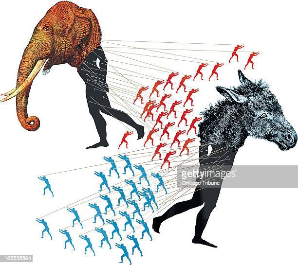 Mike Miner color illustration of red men pulling strings attached to an elephantheaded man toward a donkeyheaded man being pulled in opposite...