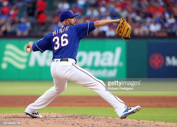 Mike Minor of the Texas Rangers pitches against the Baltimore Orioles in the second inning of a baseball game at Globe Life Park in Arlington on...