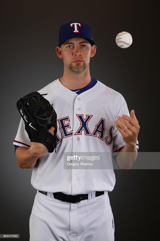 Mike Minor #36 of the Texas Rangers poses during Texas Rangers Photo Day at the Surprise Stadium training facility on February 21, 2018 in Surprise, Arizona.