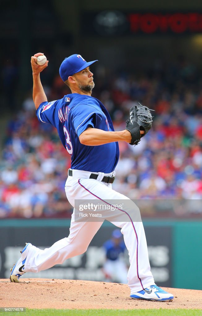 Mike Minor #36 of the Texas Rangers throws in the first inning against the Houston Astros at Globe Life Park in Arlington on April 1, 2018 in Arlington, Texas.