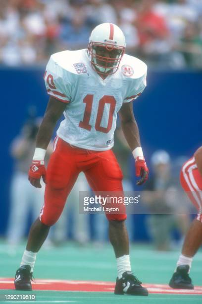 Mike Minter of the Nebraska Cornhuskers in position during a college football game against the West Virginia Mountaineers on August 31,1994 at Giants...