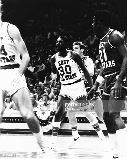 Mike Mitchell of the Eastern AllStars waits in the paint against the Western AllStars during the 1981 NBA AllStar Game on February 1 1981 in...