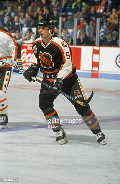 Mike Modano of the Campbell Conference and the Minnesota North Stars skates on the ice during the 1993 44th NHL All-Star Game against the Wales...