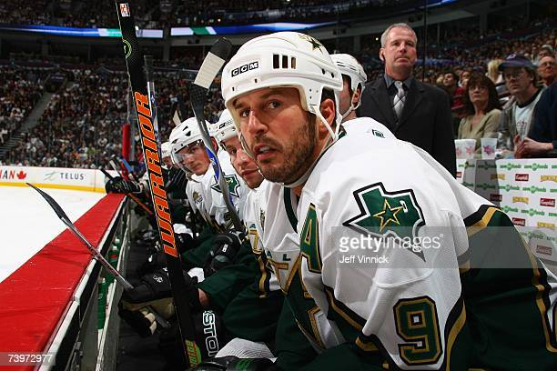 Mike Modano of the Dallas Stars looks on against the Vancouver Canucks during Game 7 of the 2007 Western Conference Quarterfinals at General Motors...