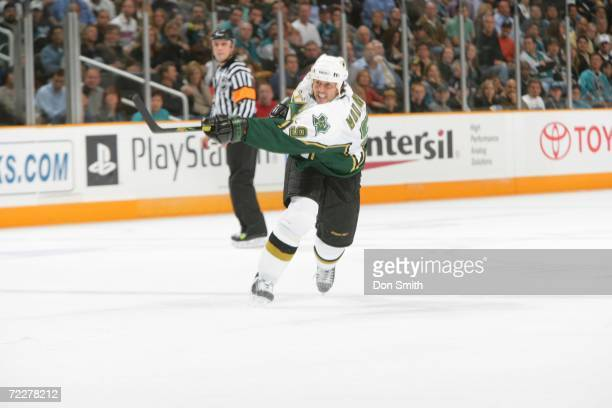 Mike Modano of the Dallas Stars shoots the puck during a game against the San Jose Sharks on October 17 2006 at the HP Pavilion in San Jose...