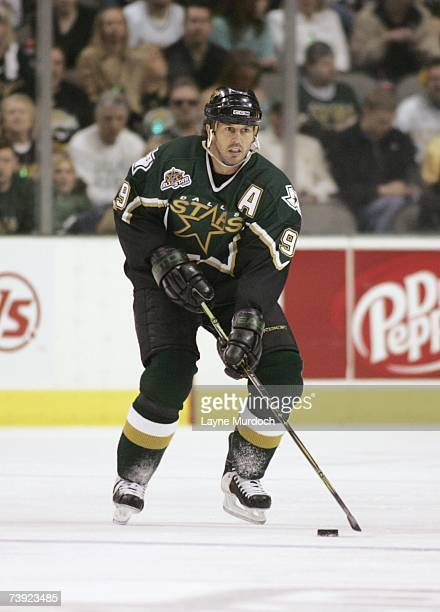 Mike Modano of the Dallas Stars skates with the puck against the Vancouver Canucks during game three of the 2007 NHL Western Conference Quarterfinals...
