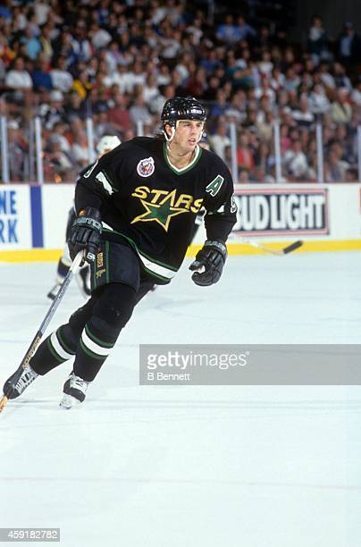 Mike Modano of the Minnesota North Stars skates on the ice during an NHL game against the Tampa Bay Lightning circa 1993 at the Thunderdome in Tampa...