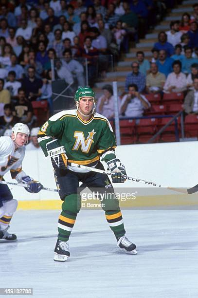 Mike Modano of the Minnesota North Stars skates on the ice during an NHL game against the St. Louis Blues on October 26, 1989 at the St. Louis Arena...