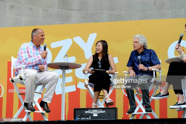 Mike Moe Cindy Mi and Steven Pinker speak onstage during OZY Fest 2018 at Rumsey Playfield Central Park on July 21 2018 in New York City