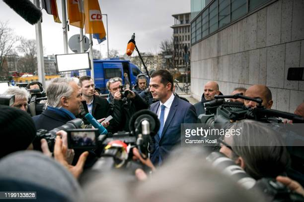 Mike Mohring, The parliamentary group leader of Thuringia's CDU party, arrives at CDU headquarters for a meeting of the CDU leadership following the...