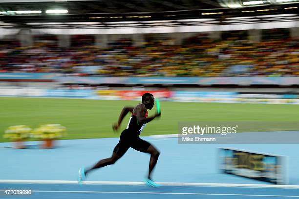 Mike Mokamba Nyang'au of Kenya competes during round one of the men's 4 x 200 metres on day two of the IAAF/BTC World Relays Bahamas 2015 at Thomas...