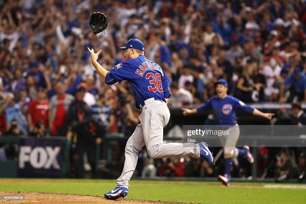 Mike Montgomery #38 of the Chicago Cubs celebrates after defeating the Cleveland Indians 8-7 in Game Seven of the 2016 World Series at Progressive Field on November 2, 2016 in Cleveland, Ohio. The Cubs win their first World Series in 108 years.