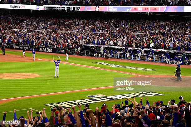 Mike Montgomery of the Chicago Cubs celebrates after defeating the Cleveland Indians 87 in Game Seven of the 2016 World Series at Progressive Field...