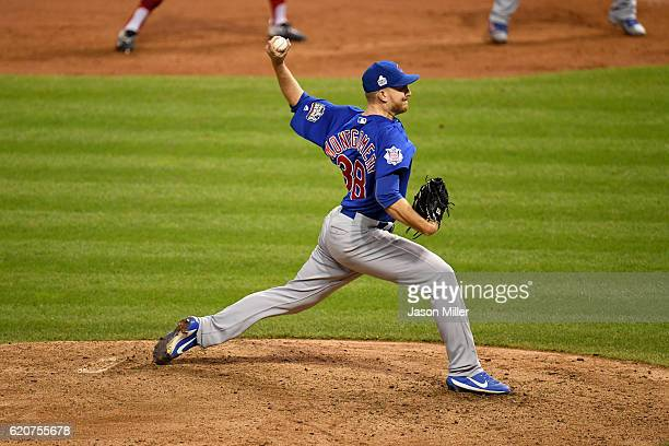 Mike Montgomery of the Chicago Cubs pitches in the 10th inning against the Cleveland Indians in Game Seven of the 2016 World Series at Progressive...