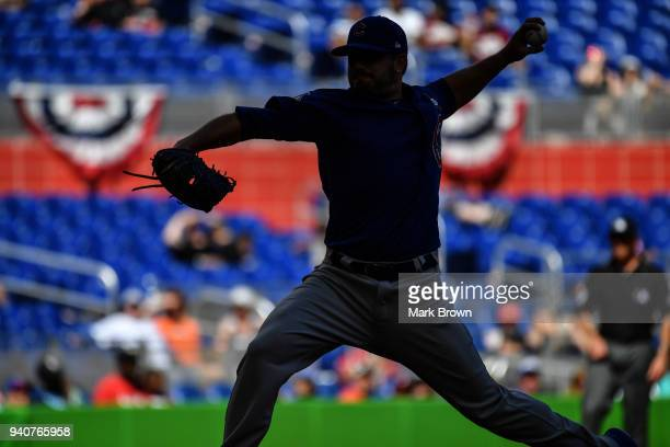 Mike Montgomery of the Chicago Cubs pitches in the eighth inning against the Miami Marlins at Marlins Park on April 1 2018 in Miami Florida