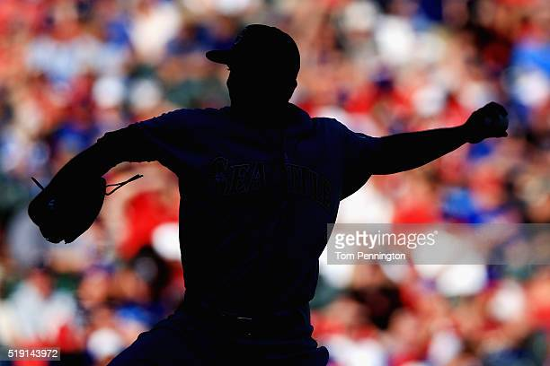 Mike Montgomery of the Seattle Mariners pitches against the Texas Rangers in the bottom of the eighth inning on Opening Day at Globe Life Park in...