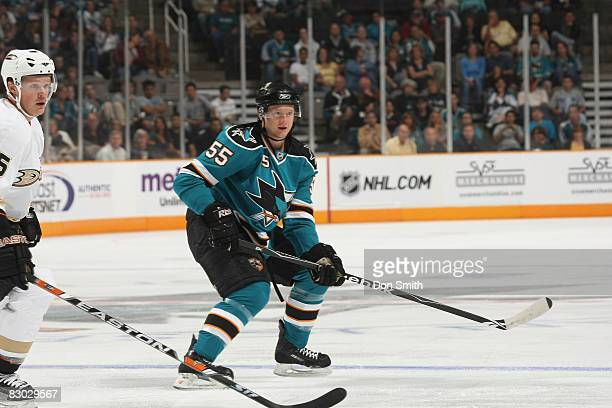 Mike Moore of the San Jose Sharks watches up ice during an NHL preseason game against Anaheim Ducks on September 26 2008 at HP Pavilion in San Jose...