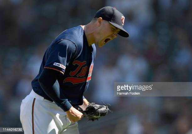 Mike Morin of the Minnesota Twins celebrates defeating the Los Angeles Angels after the game on May 15 2019 at Target Field in Minneapolis Minnesota...