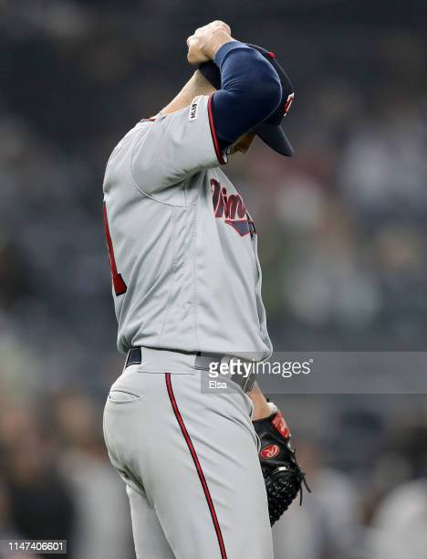 Mike Morin of the Minnesota Twins reacts after giving up a solo home run to Gary Sanchez of the New York Yankees in the seventh inning at Yankee...