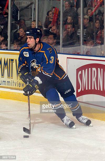 Mike Mottau of the Peoria Rivermen skates with the puck against the Toronto Marlies at Ricoh Coliseum on February 3 2006 in Toronto Ontario Canada...