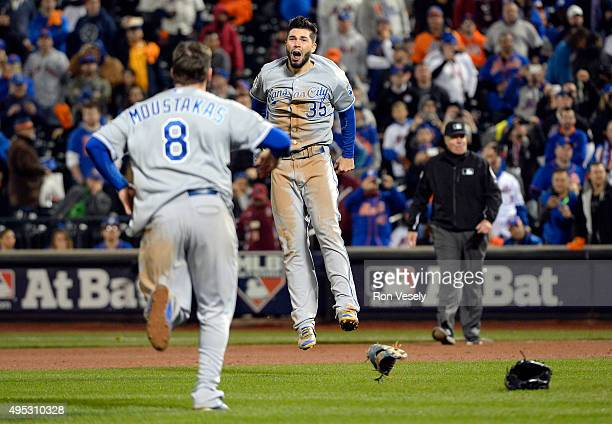 Mike Moustakas and Eric Hosmer of the Kansas City Royals celebrate after winning Game 5 of the 2015 World Series 72 over the New York Mets at Citi...