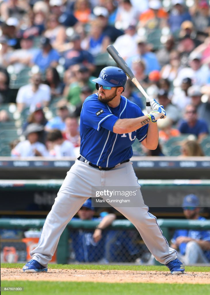 Mike Moustakas #8 of the Kansas City Royals bats during the game against the Detroit Tigers at Comerica Park on September 4, 2017 in Detroit, Michigan. The Royals defeated the Tigers 7-6.
