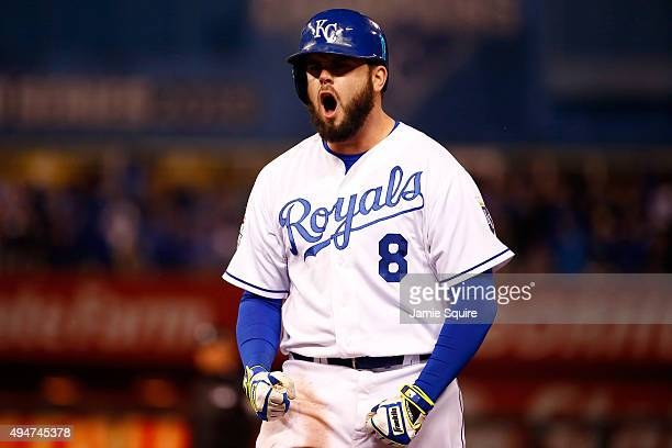 Mike Moustakas of the Kansas City Royals celebrates after hitting an RBI single to score Eric Hosmer of the Kansas City Royals in the fifth inning...