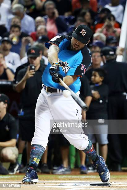 Mike Moustakas of the Kansas City Royals competes in the T-Mobile Home Run Derby at Marlins Park on July 10, 2017 in Miami, Florida.