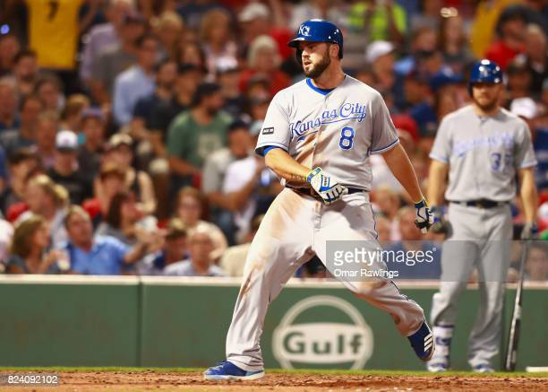 Mike Moustakas of the Kansas City Royals crosses home plate after a line drive homer to right field in the top of the fourth inning during the game...