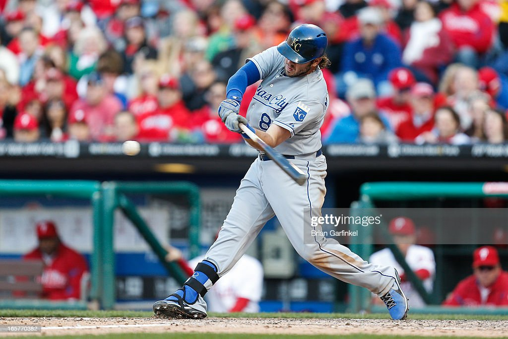 Mike Moustakas #8 of the Kansas City Royals gets a base hit to load the bases in the seventh inning of the Opening Day game against the Philadelphia Phillies at Citizens Bank Park on April 5, 2013 in Philadelphia, Pennsylvania. The Royals won 13 to 4.