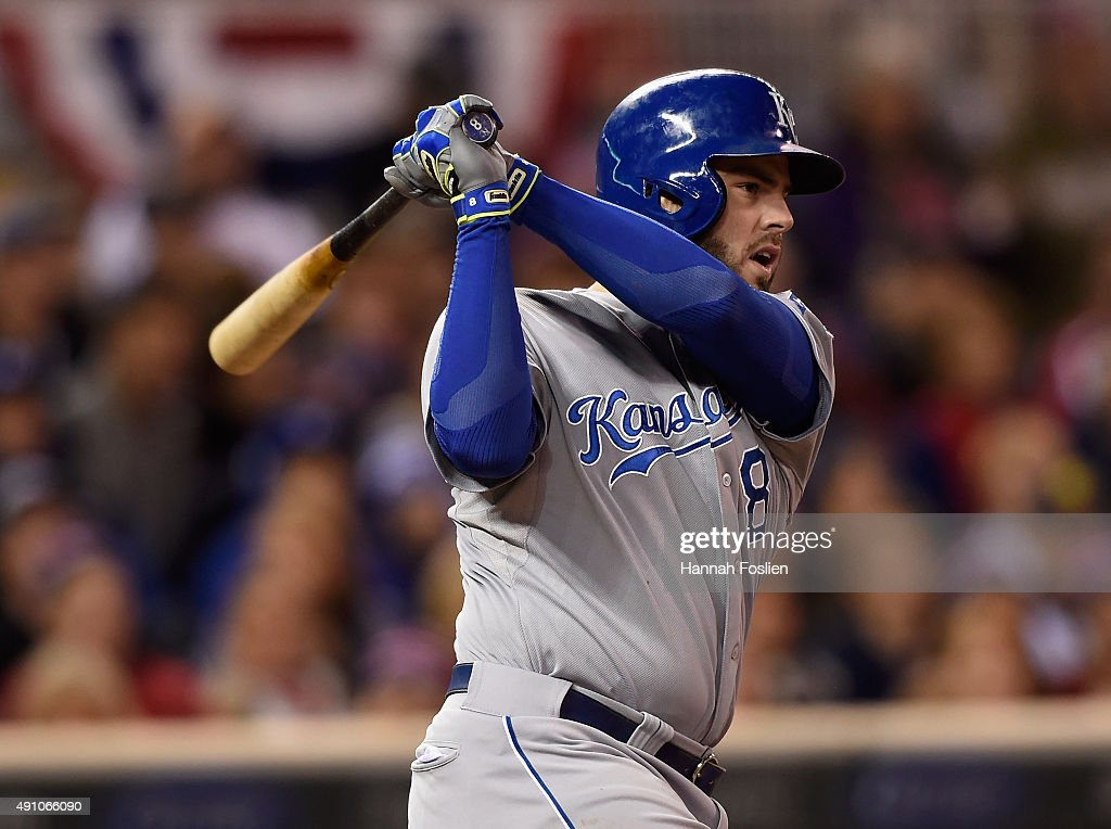 Mike Moustakas #8 of the Kansas City Royals hits an RBI single against the Minnesota Twins during the eighth inning of the game on October 2, 2015 at Target Field in Minneapolis, Minnesota. The Royals defeated the Twins 3-1.