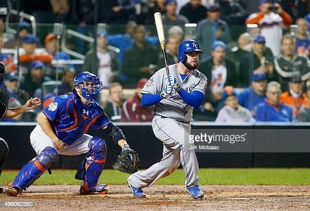 Mike Moustakas of the Kansas City Royals in action against the New York Mets during game five of the 2015 World Series at Citi Field on November 1...