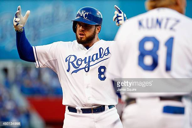 Mike Moustakas of the Kansas City Royals reacts after hitting an RBI single in the eighth inning against the Toronto Blue Jays in game two of the...