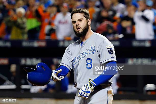 Mike Moustakas of the Kansas City Royals reacts to striking out in the fourth inning against the New York Mets during Game Five of the 2015 World...