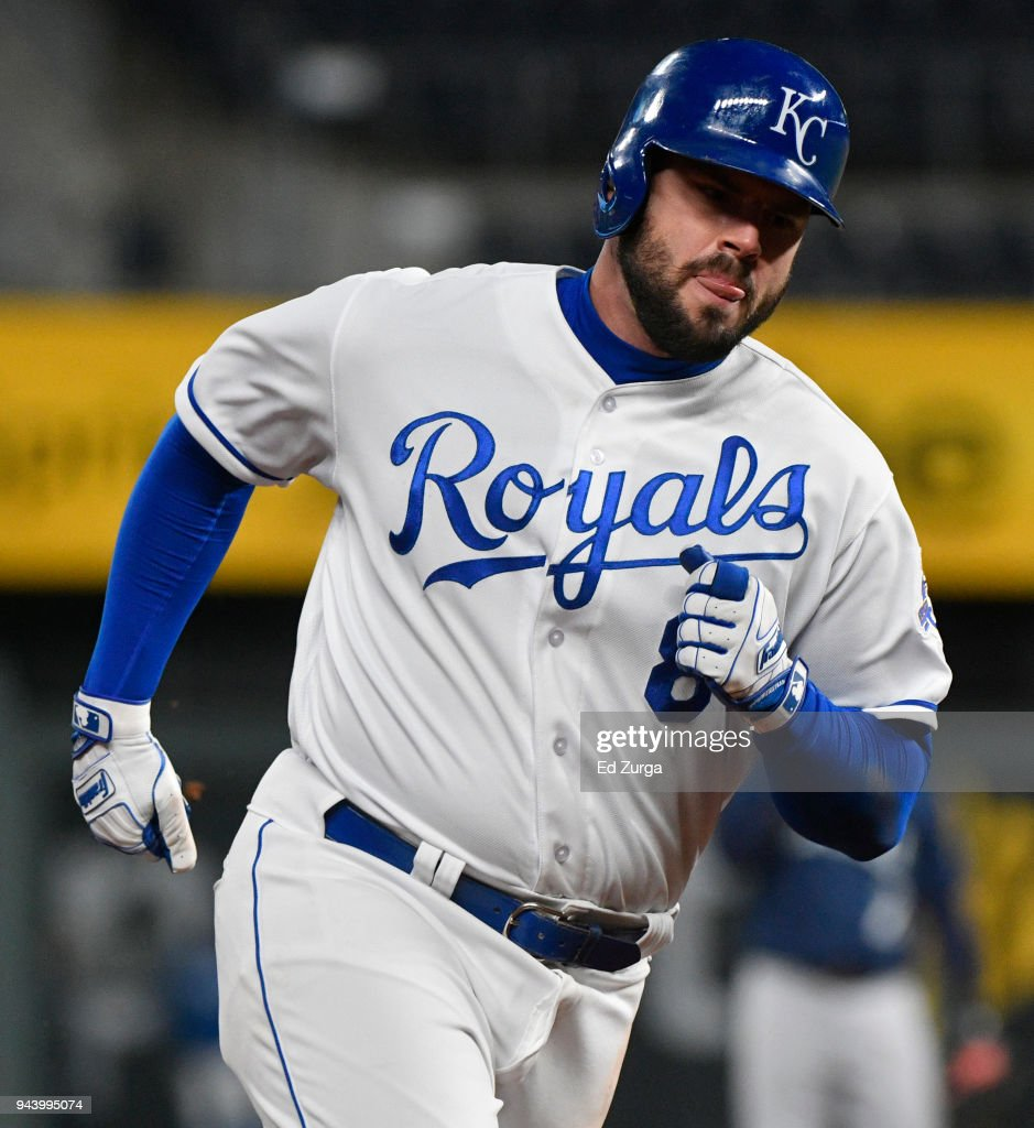 Mike Moustakas #8 of the Kansas City Royals rounds third after hitting a home run against the Seattle Mariners in the eighth inning at Kauffman Stadium on April 9, 2018 in Kansas City, Missouri.