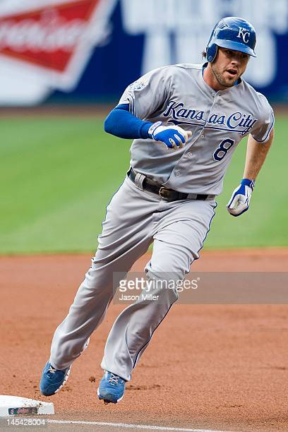 Mike Moustakas of the Kansas City Royals rounds third base after hitting a two run home run during the first inning against the Cleveland Indians at...