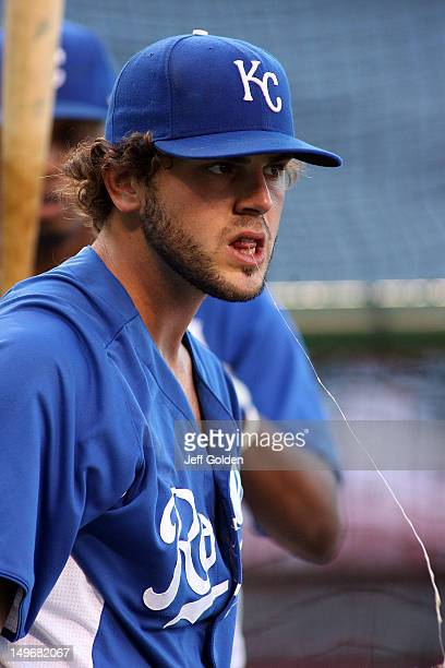 Mike Moustakas of the Kansas City Royals spits saliva during batting practice before the game against the Los Angeles Angels of Anaheim at Angel...