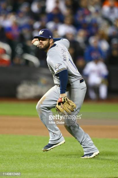 Mike Moustakas of the Milwaukee Brewers in action against the New York Mets at Citi Field on April 27 2019 in New York City Milwaukee Brewers...