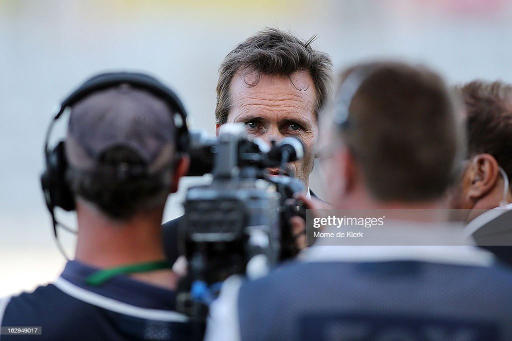 Mike Mulvey of Brisbane is interviewed after the round 23 A-League match between Adelaide United and the Brisbane Roar at Hindmarsh Stadium on March 2, 2013 in Adelaide, Australia.