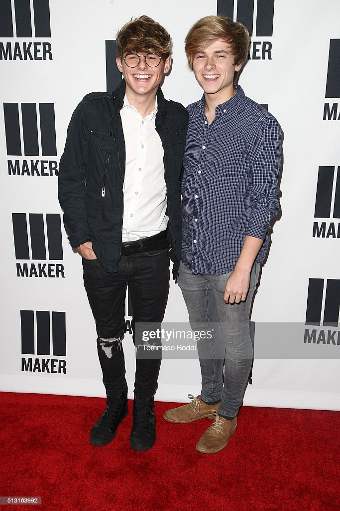 Mike Murphy and Luke Korns attend the Maker Studios Spark Premiere Event at ArcLight Cinemas on February 29, 2016 in Culver City, California.