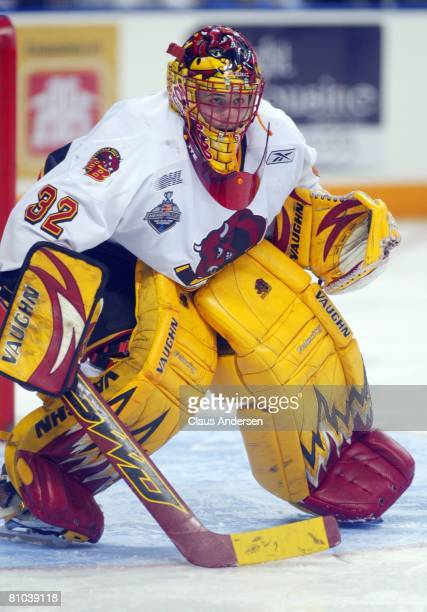 Mike Murphy of the Belleville Bulls looks for an incoming shot against the Kitchener Rangers in Game Five of the OHL Championship Final on May 8 2008...