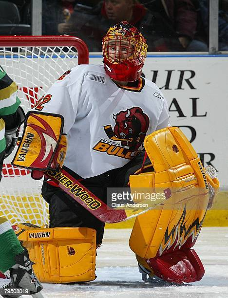 Mike Murphy of the Belleville Bulls moves to make a save in a game against the London Knights on February 1 2008 at the John Labatt Centre in London...