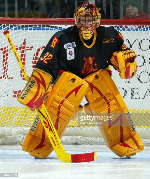 Mike Murphy of the Belleville Bulls watches the play in a game against the London Knights on December 12, 2008 at the John Labatt Centre in London,...