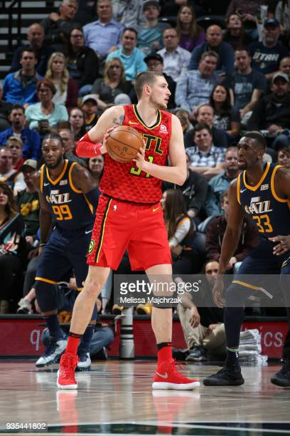 Mike Muscala of the Atlanta Hawks handles the ball against the Utah Jazz on March 20 2018 at vivintSmartHome Arena in Salt Lake City Utah NOTE TO...