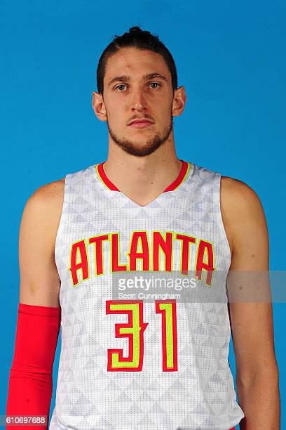 Mike Muscala of the Atlanta Hawks poses for a portrait during 20162017 Atlanta Hawks Media Day at Phillips Arena on September 26 2016 in Atlanta...